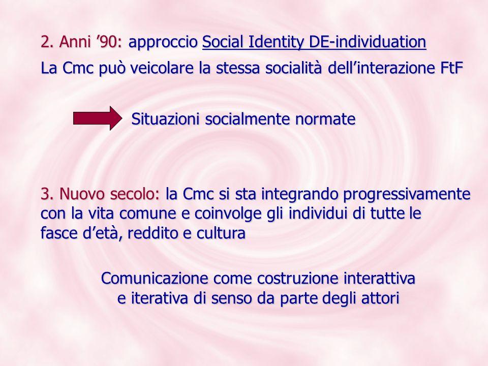 2. Anni 90: approccio Social Identity DE-individuation 3. Nuovo secolo: la Cmc si sta integrando progressivamente con la vita comune e coinvolge gli i