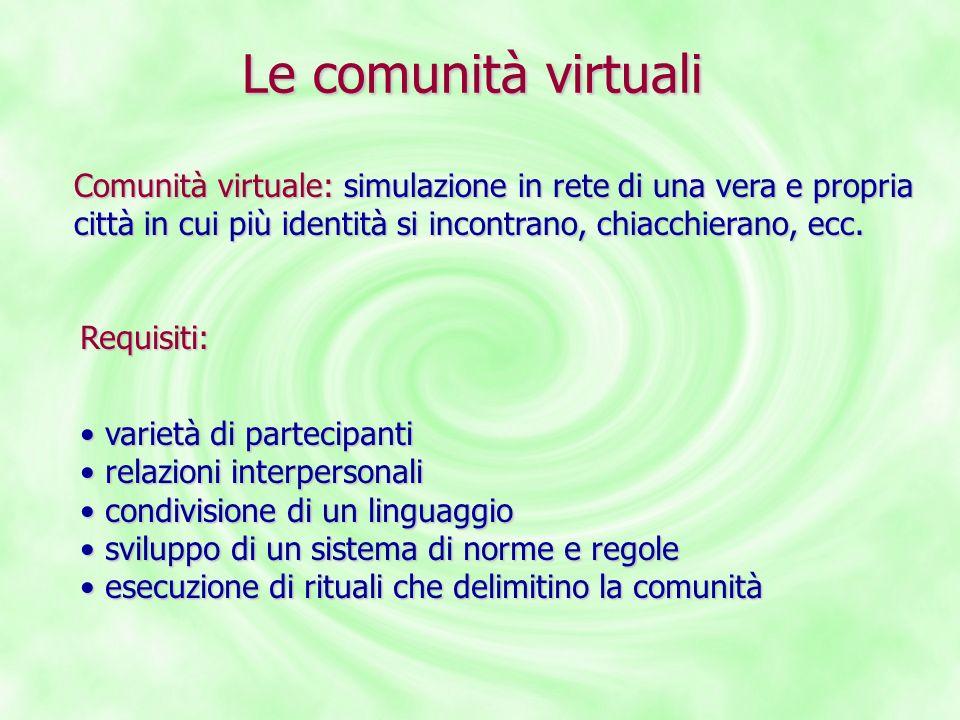 Le comunità virtuali Comunità virtuale: simulazione in rete di una vera e propria città in cui più identità si incontrano, chiacchierano, ecc. Requisi