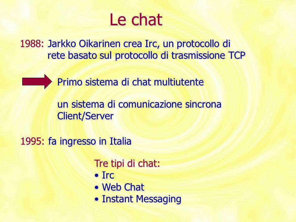 Le chat 1988: Jarkko Oikarinen crea Irc, un protocollo di rete basato sul protocollo di trasmissione TCP rete basato sul protocollo di trasmissione TC