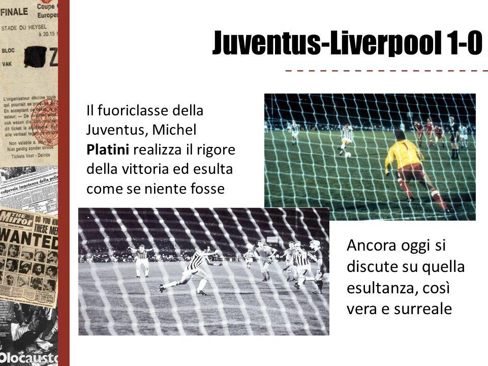 Juventus-Liverpool 1-0 Il fuoriclasse della Juventus, Michel Platini realizza il rigore della vittoria ed esulta come se niente fosse Ancora oggi si d