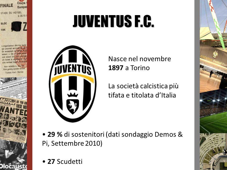 JUVENTUS F.C. Nasce nel novembre 1897 a Torino La società calcistica più tifata e titolata dItalia 29 % di sostenitori (dati sondaggio Demos & Pi, Set