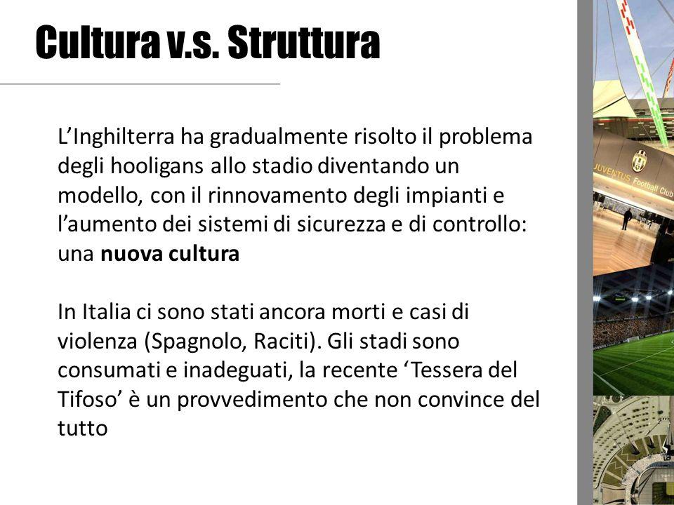 Cultura v.s. Struttura LInghilterra ha gradualmente risolto il problema degli hooligans allo stadio diventando un modello, con il rinnovamento degli i