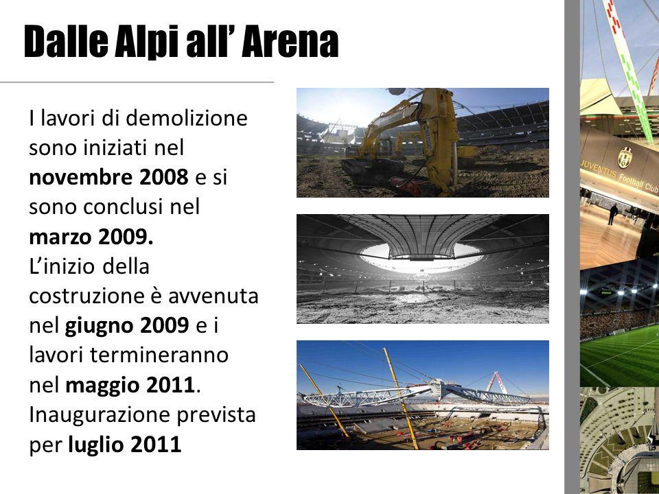 Dalle Alpi all Arena I lavori di demolizione sono iniziati nel novembre 2008 e si sono conclusi nel marzo 2009. Linizio della costruzione è avvenuta n