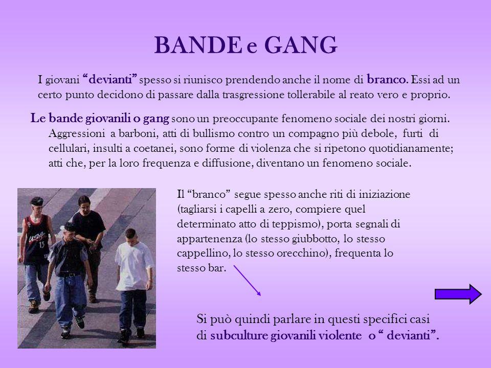 BANDE e GANG Le bande giovanili o gang sono un preoccupante fenomeno sociale dei nostri giorni. Aggressioni a barboni, atti di bullismo contro un comp