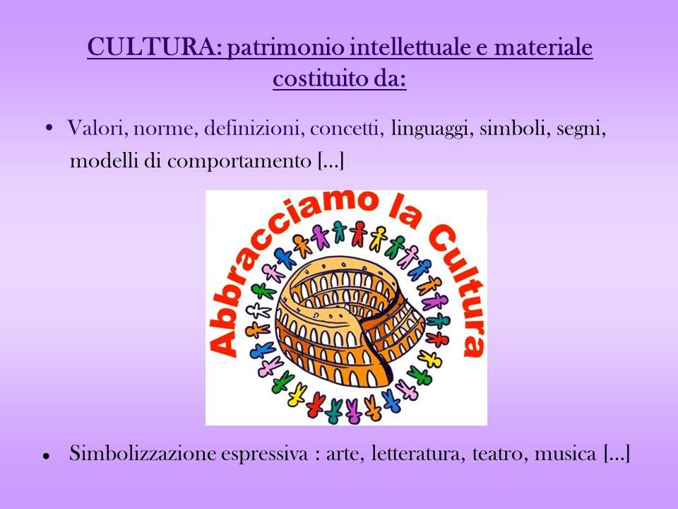 CULTURA: patrimonio intellettuale e materiale costituito da: Valori, norme, definizioni, concetti, linguaggi, simboli, segni, modelli di comportamento