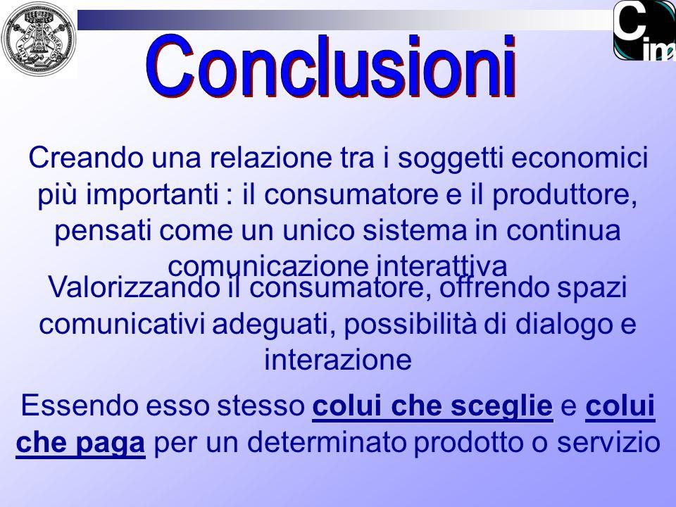 Creando una relazione tra i soggetti economici più importanti : il consumatore e il produttore, pensati come un unico sistema in continua comunicazion