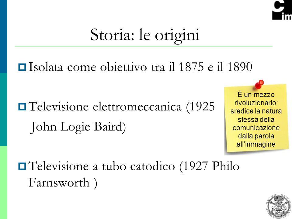 2 Isolata come obiettivo tra il 1875 e il 1890 Televisione elettromeccanica (1925 John Logie Baird) Televisione a tubo catodico (1927 Philo Farnsworth ) Storia: le origini É un mezzo rivoluzionario: sradica la natura stessa della comunicazione dalla parola allimmagine