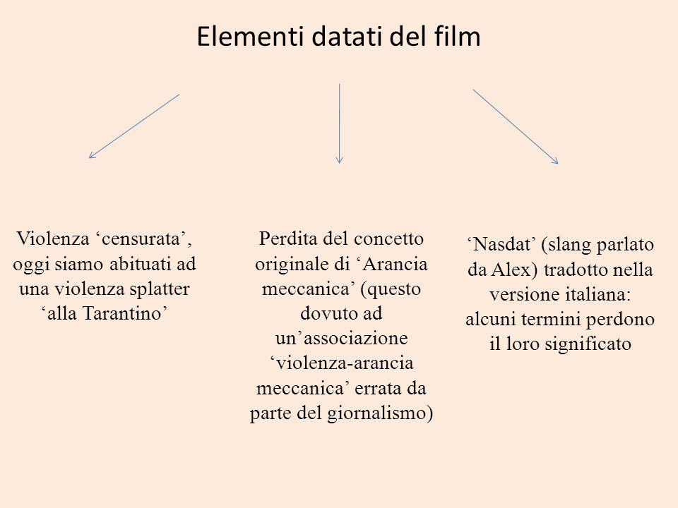 Elementi datati del film Violenza censurata, oggi siamo abituati ad una violenza splatter alla Tarantino Perdita del concetto originale di Arancia mec