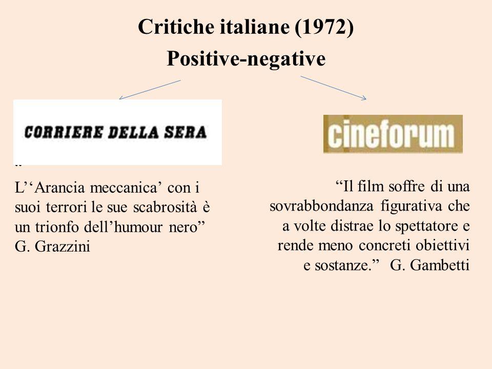 Critiche italiane (1972) Positive-negative LArancia meccanica con i suoi terrori le sue scabrosità è un trionfo dellhumour nero G. Grazzini Il film so