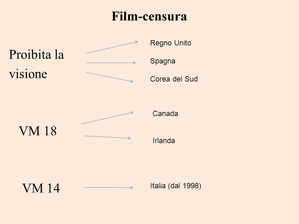 Film-censura Proibita la visione VM 18 VM 14 Regno Unito Spagna Corea del Sud Canada Irlanda Italia (dal 1998)