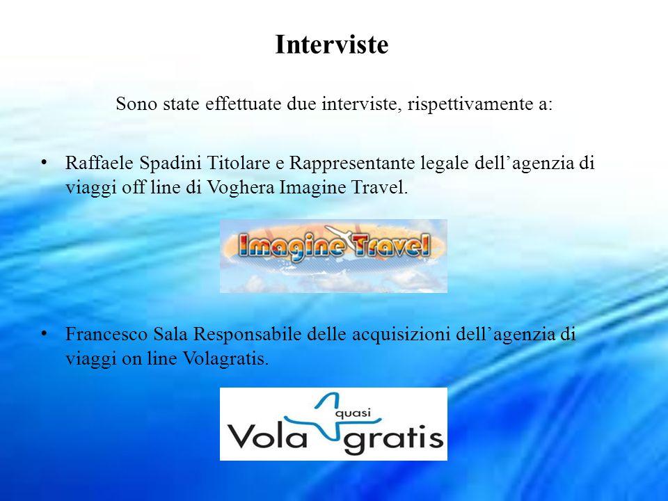 Interviste Sono state effettuate due interviste, rispettivamente a: Raffaele Spadini Titolare e Rappresentante legale dellagenzia di viaggi off line d