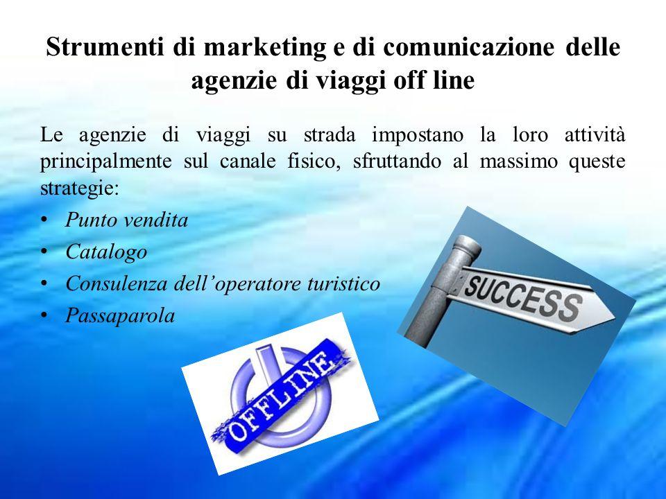 Strumenti di marketing e di comunicazione delle agenzie di viaggi off line Le agenzie di viaggi su strada impostano la loro attività principalmente su