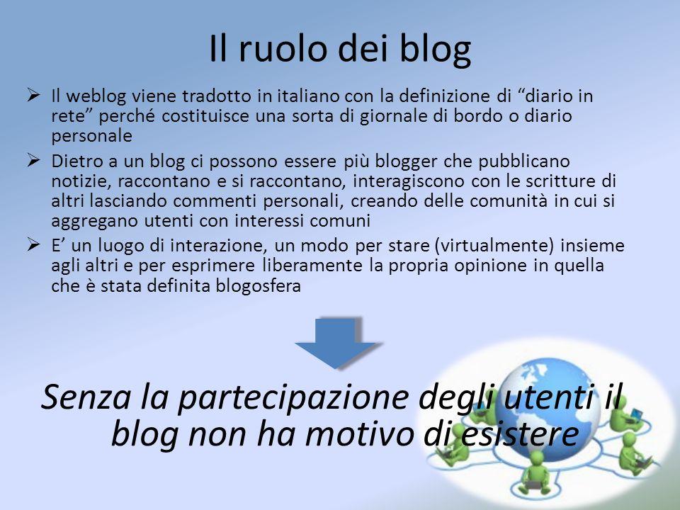 Il ruolo dei blog Il weblog viene tradotto in italiano con la definizione di diario in rete perché costituisce una sorta di giornale di bordo o diario