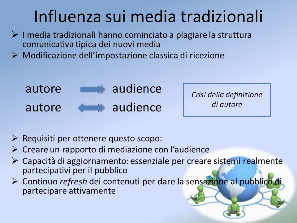 Influenza sui media tradizionali I media tradizionali hanno cominciato a plagiare la struttura comunicativa tipica dei nuovi media Modificazione delli