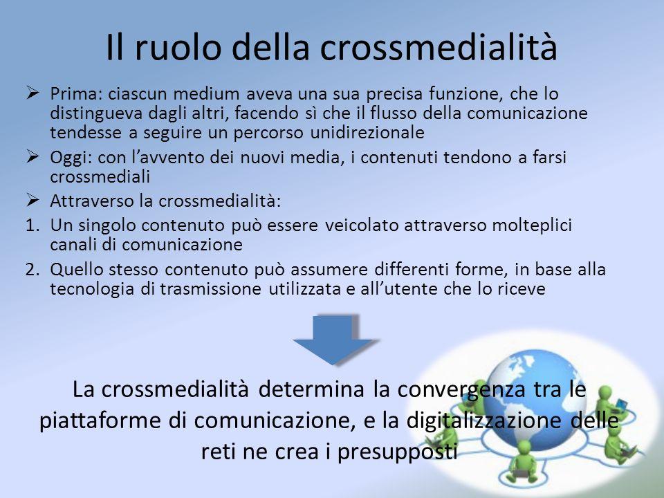 Il ruolo della crossmedialità Prima: ciascun medium aveva una sua precisa funzione, che lo distingueva dagli altri, facendo sì che il flusso della com