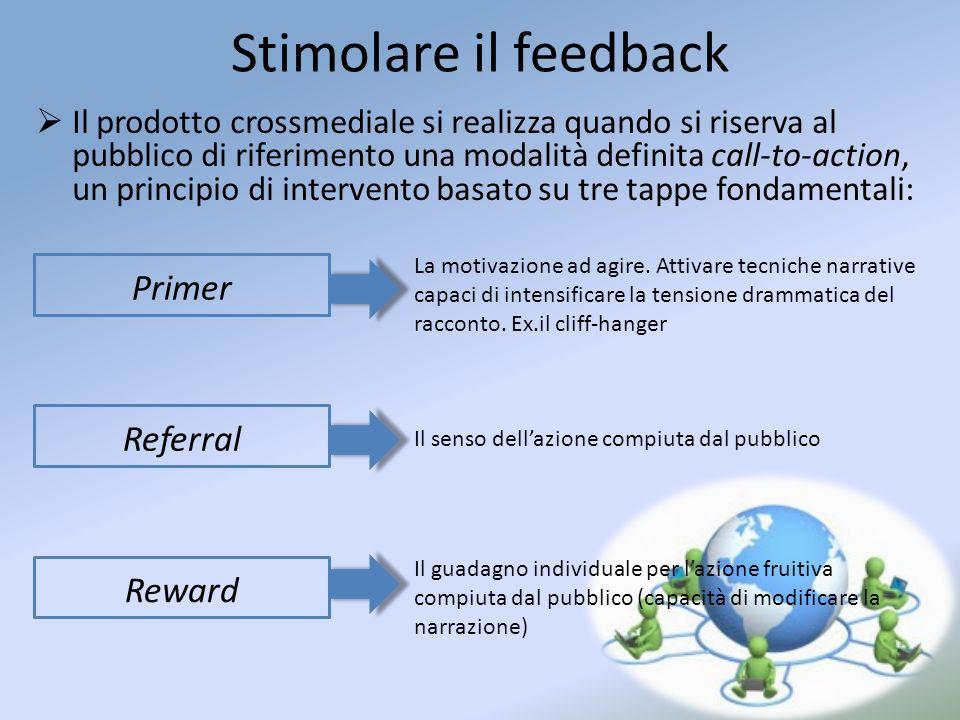Stimolare il feedback Il prodotto crossmediale si realizza quando si riserva al pubblico di riferimento una modalità definita call-to-action, un princ