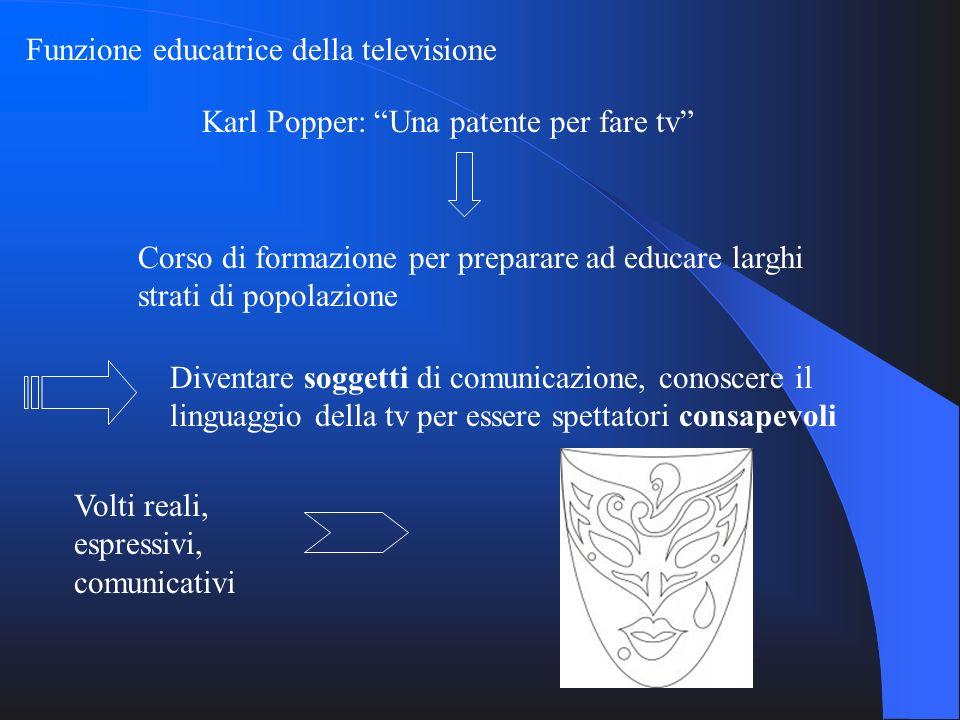 Funzione educatrice della televisione Karl Popper: Una patente per fare tv Corso di formazione per preparare ad educare larghi strati di popolazione D