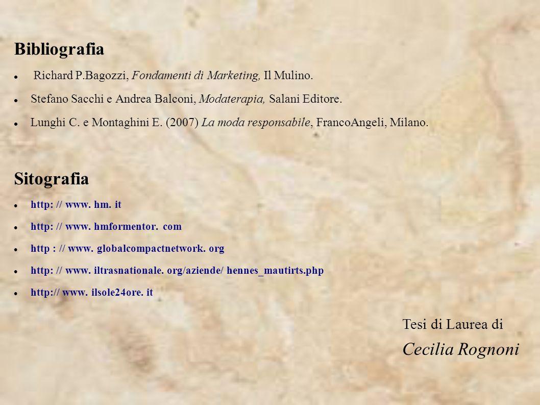 Bibliografia Richard P.Bagozzi, Fondamenti di Marketing, Il Mulino. Stefano Sacchi e Andrea Balconi, Modaterapia, Salani Editore. Lunghi C. e Montaghi