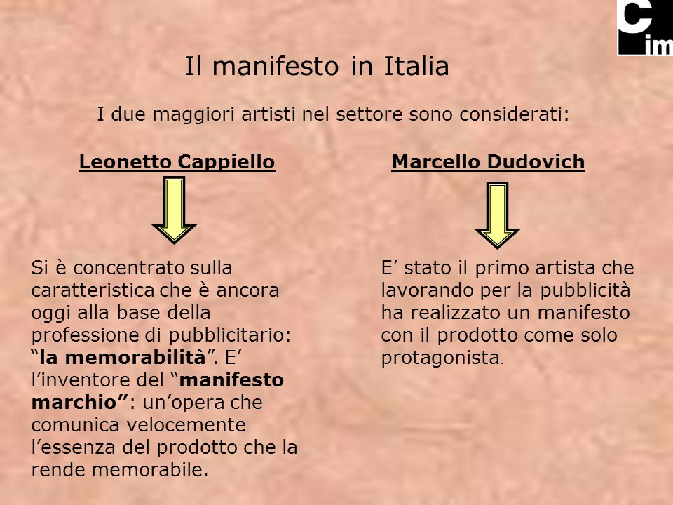 Il manifesto in Italia I due maggiori artisti nel settore sono considerati: Leonetto CappielloMarcello Dudovich Si è concentrato sulla caratteristica che è ancora oggi alla base della professione di pubblicitario:la memorabilità.