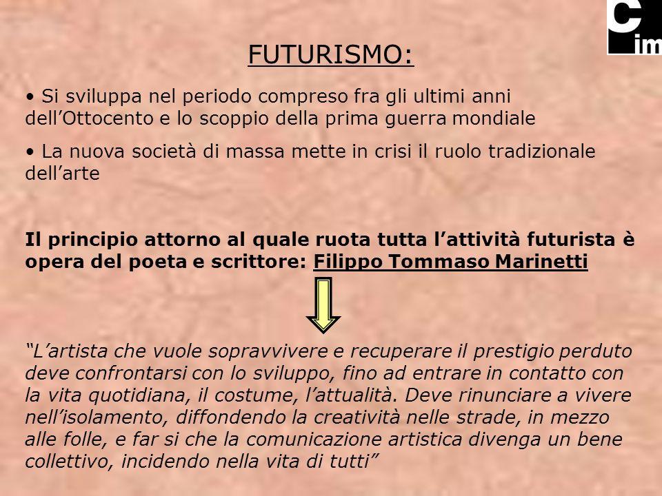 FUTURISMO: Si sviluppa nel periodo compreso fra gli ultimi anni dellOttocento e lo scoppio della prima guerra mondiale La nuova società di massa mette