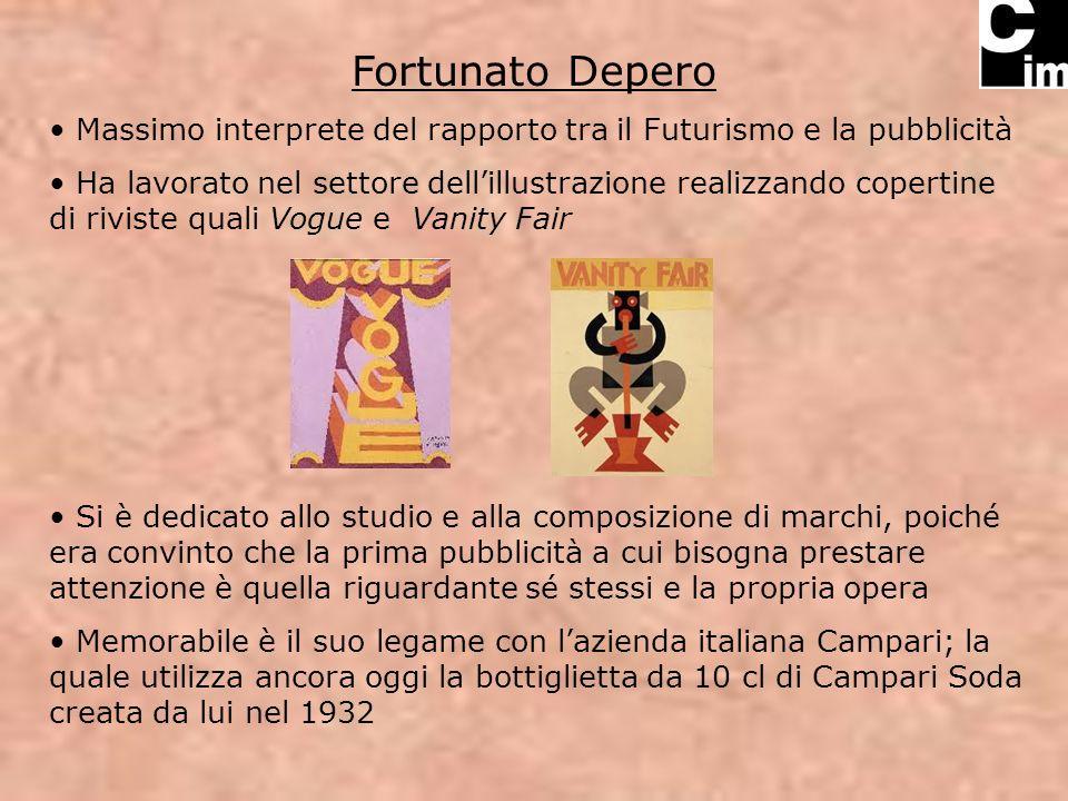 Fortunato Depero Massimo interprete del rapporto tra il Futurismo e la pubblicità Ha lavorato nel settore dellillustrazione realizzando copertine di r