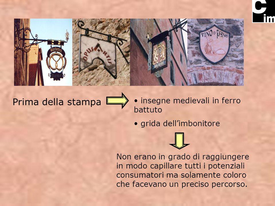 Prima della stampa insegne medievali in ferro battuto grida dellimbonitore Non erano in grado di raggiungere in modo capillare tutti i potenziali consumatori ma solamente coloro che facevano un preciso percorso.