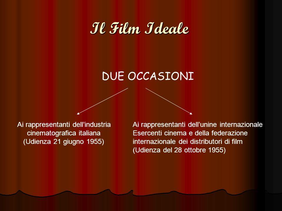 Il Film Ideale DUE OCCASIONI Ai rappresentanti dellindustria cinematografica italiana (Udienza 21 giugno 1955) Ai rappresentanti dellunine internazion