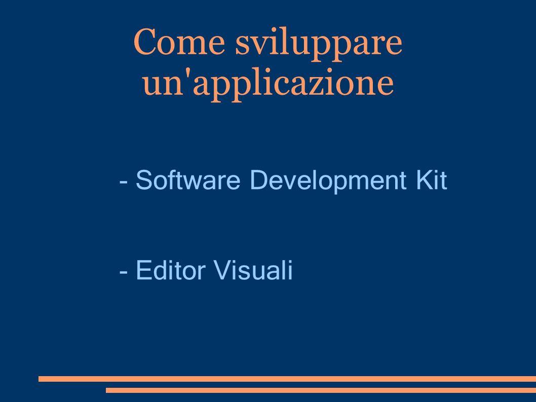 Come sviluppare un'applicazione - Software Development Kit - Editor Visuali