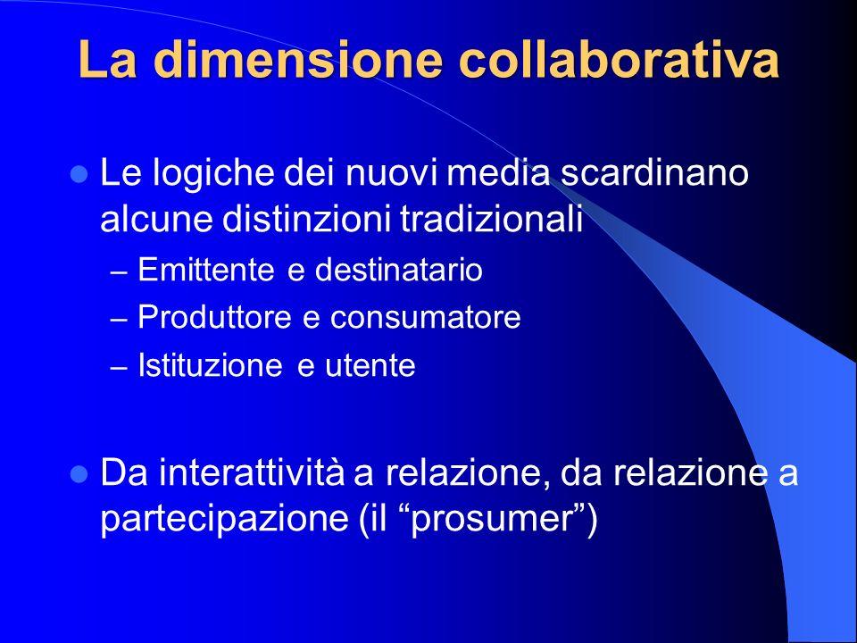 La dimensione collaborativa Le logiche dei nuovi media scardinano alcune distinzioni tradizionali – Emittente e destinatario – Produttore e consumator