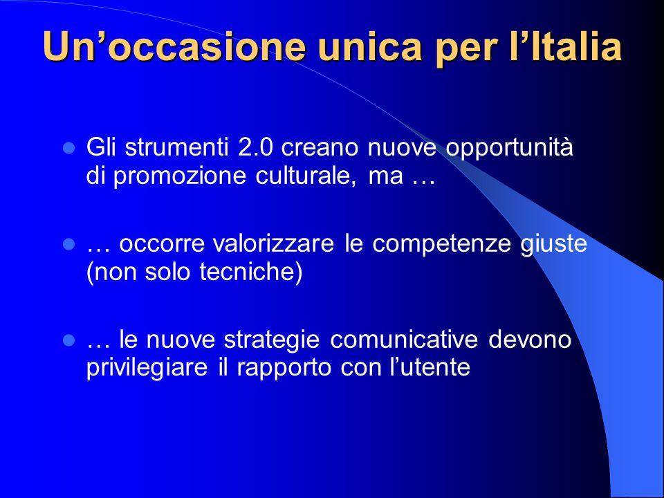 Unoccasione unica per lItalia Gli strumenti 2.0 creano nuove opportunità di promozione culturale, ma … … occorre valorizzare le competenze giuste (non