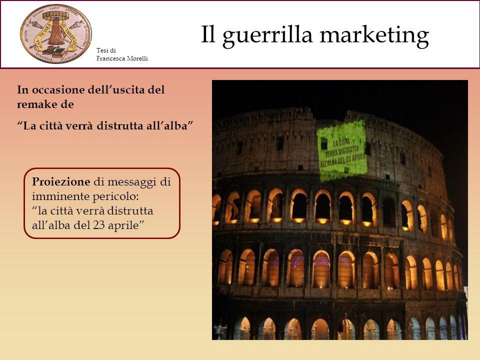 Il guerrilla marketing Distribuzione di avvisi di un possibile contagio da parte di una squadra in assetto antivirus Tesi di Francesca Morelli