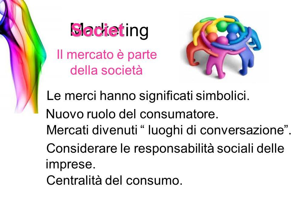 Market Il mercato è parte della società ing Societ Le merci hanno significati simbolici. Nuovo ruolo del consumatore. Mercati divenuti luoghi di conve
