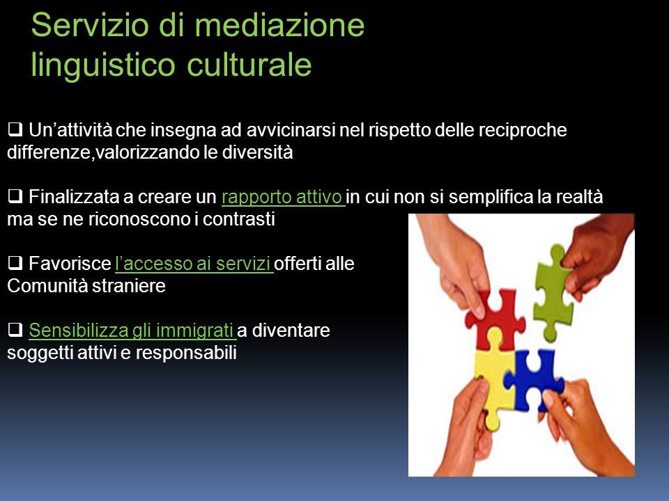 Il mediatore culturale È un agente attivo della comunicazione che promuove una politica sociale che garantisce a tutti la possibilità di espressione e il mantenimento delle identità culturali.