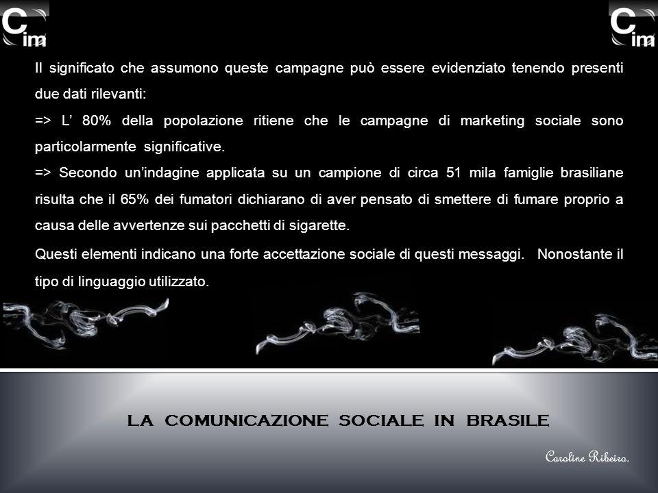 Il significato che assumono queste campagne può essere evidenziato tenendo presenti due dati rilevanti: => L 80% della popolazione ritiene che le campagne di marketing sociale sono particolarmente significative.