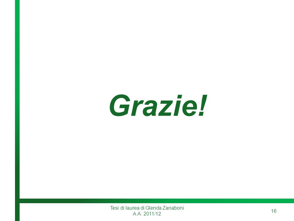 Grazie! Tesi di laurea di Glenda Zanaboni A.A. 2011/12 16