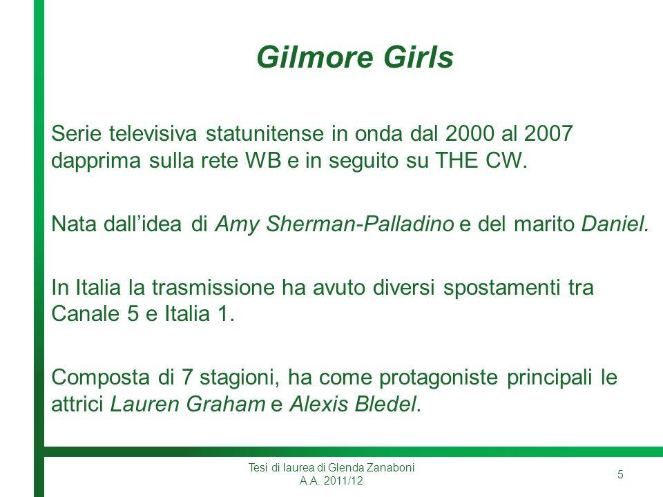 Gilmore Girls Serie televisiva statunitense in onda dal 2000 al 2007 dapprima sulla rete WB e in seguito su THE CW.