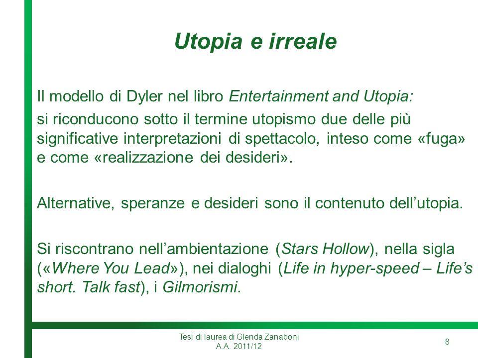 Utopia e irreale Il modello di Dyler nel libro Entertainment and Utopia: si riconducono sotto il termine utopismo due delle più significative interpretazioni di spettacolo, inteso come «fuga» e come «realizzazione dei desideri».