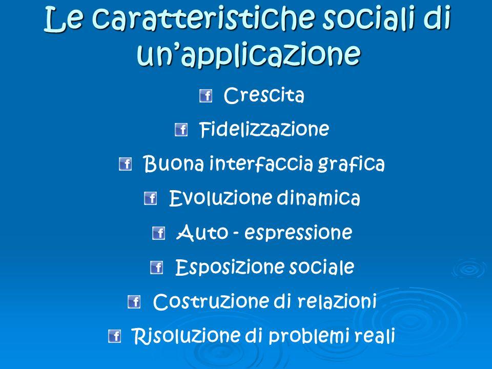 Le caratteristiche sociali di unapplicazione Crescita Fidelizzazione Buona interfaccia grafica Evoluzione dinamica Auto - espressione Esposizione sociale Costruzione di relazioni Risoluzione di problemi reali