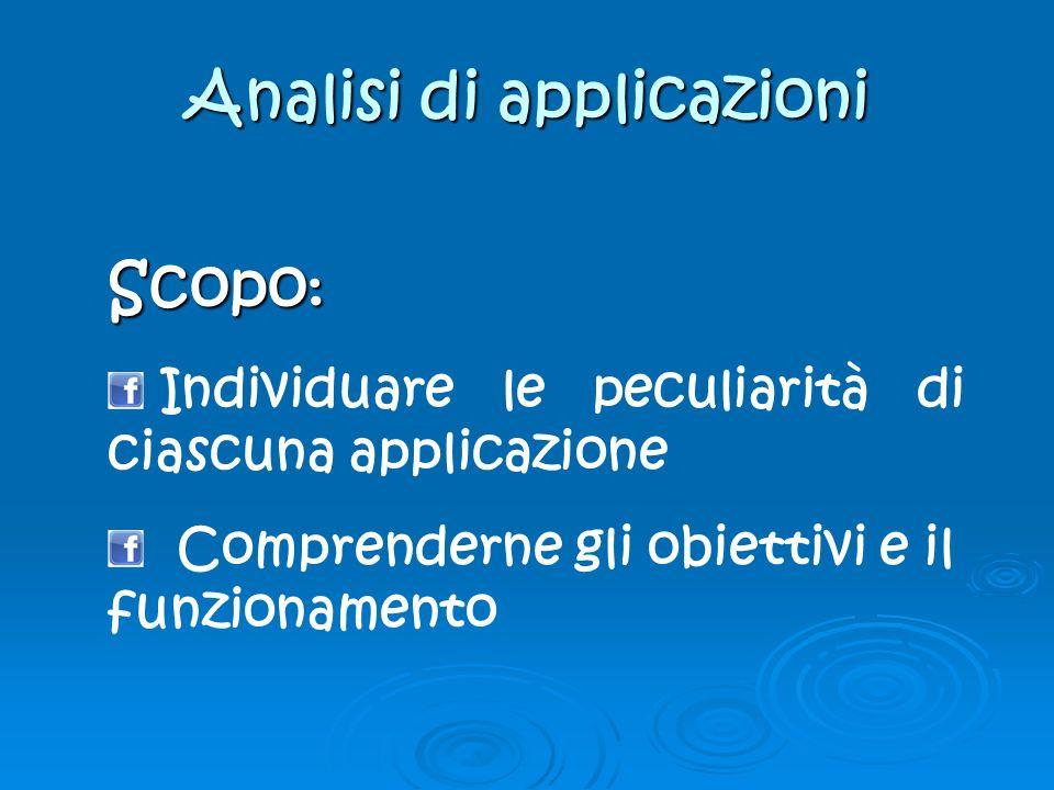 Analisi di applicazioni Scopo : Individuare le peculiarità di ciascuna applicazione Comprenderne gli obiettivi e il funzionamento