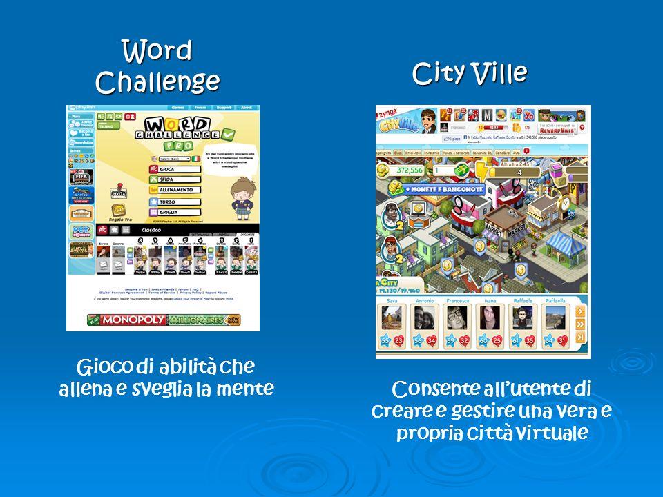 Word Challenge City Ville Gioco di abilità che allena e sveglia la mente Consente allutente di creare e gestire una vera e propria città virtuale