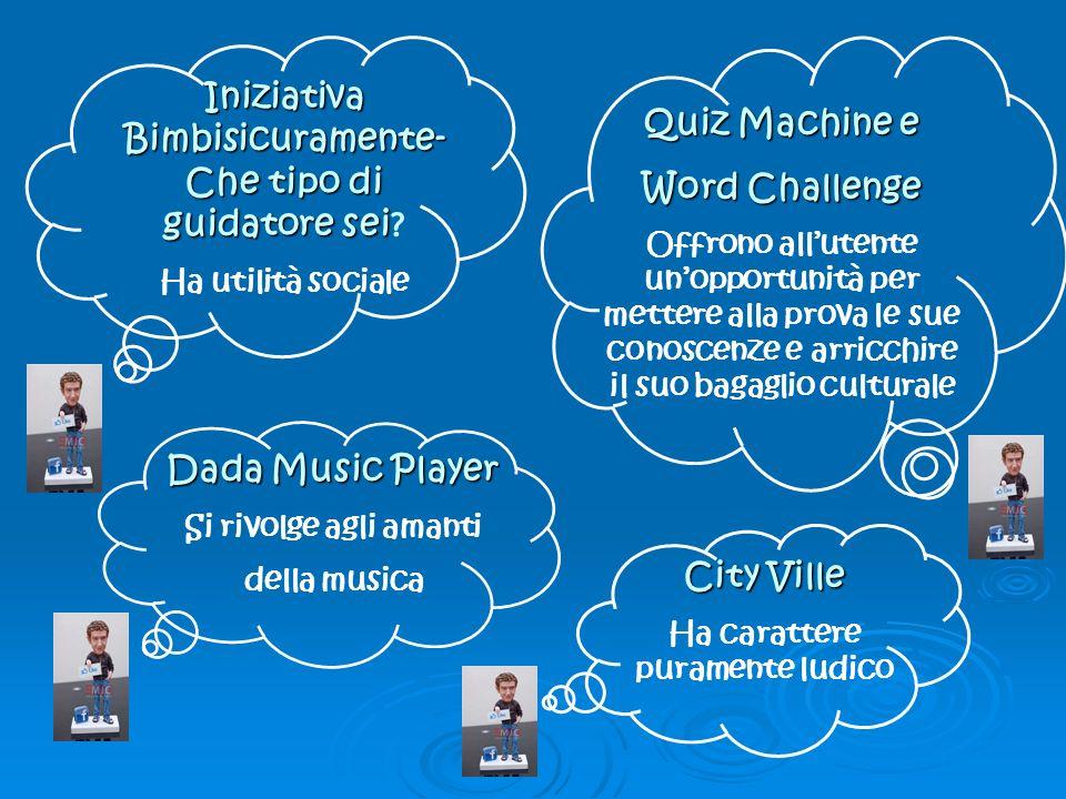 Dada Music Player Si rivolge agli amanti della musica Quiz Machine e Word Challenge Offrono allutente unopportunità per mettere alla prova le sue conoscenze e arricchire il suo bagaglio culturale Iniziativa Bimbisicuramente- Che tipo di guidatore sei Iniziativa Bimbisicuramente- Che tipo di guidatore sei.