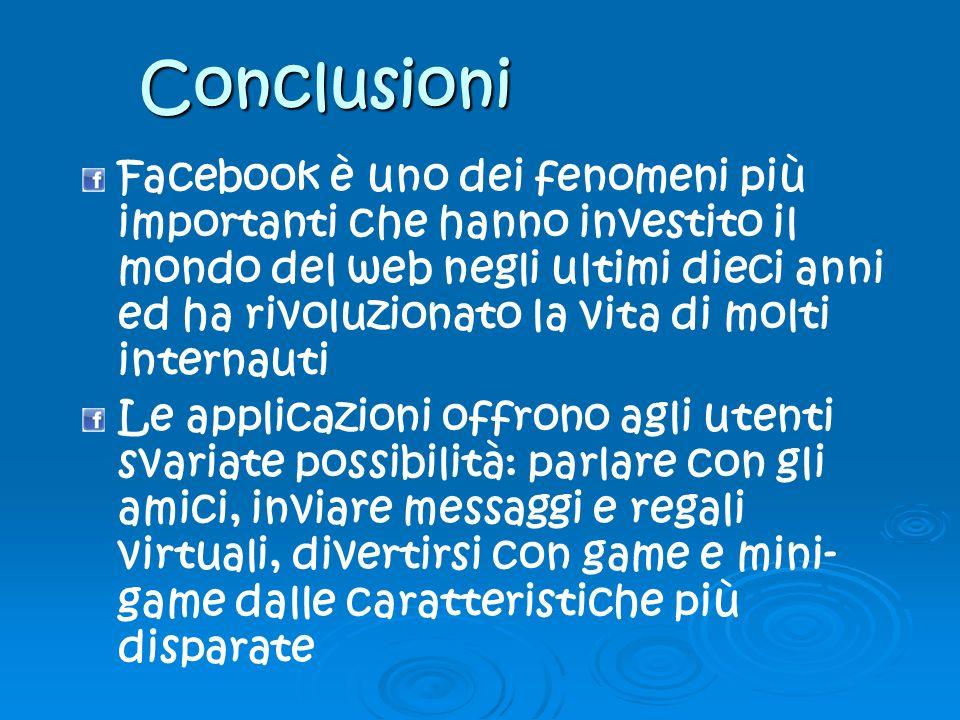 Conclusioni Facebook è uno dei fenomeni più importanti che hanno investito il mondo del web negli ultimi dieci anni ed ha rivoluzionato la vita di mol