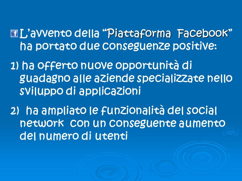 Piattaforma Facebook Lavvento della Piattaforma Facebook ha portato due conseguenze positive: 1) ha offerto nuove opportunità di guadagno alle aziende specializzate nello sviluppo di applicazioni 2) ha ampliato le funzionalità del social network con un conseguente aumento del numero di utenti