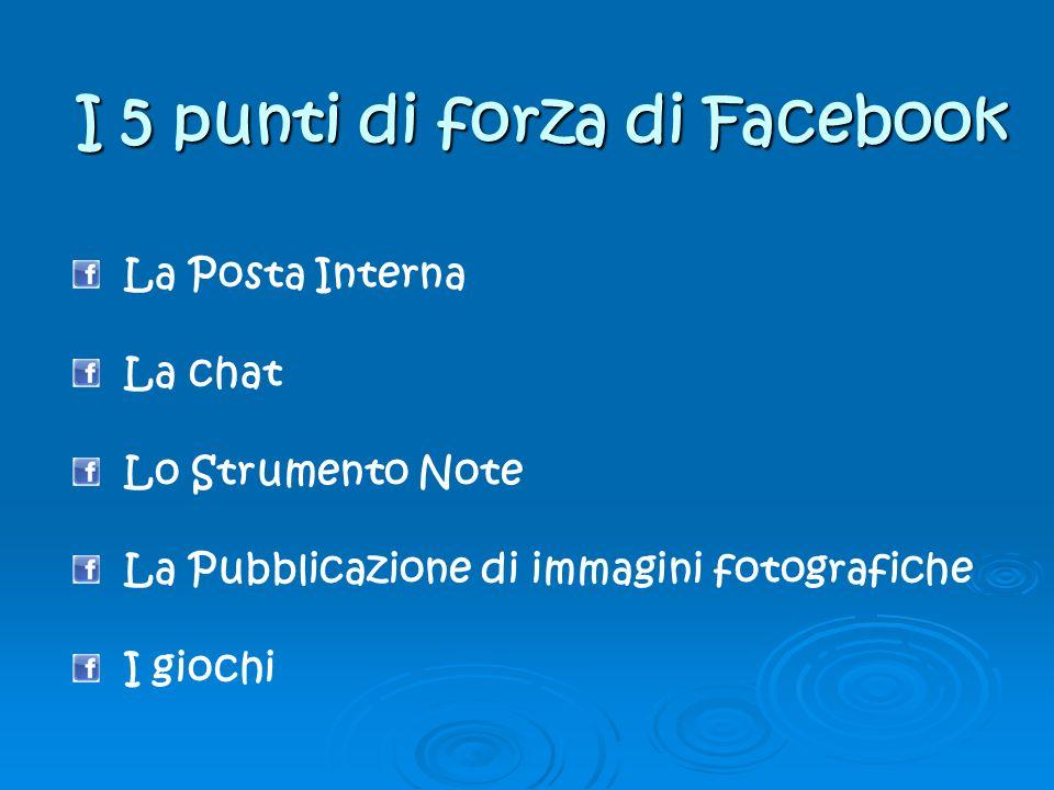 I 5 punti di forza di Facebook La Posta Interna La chat Lo Strumento Note La Pubblicazione di immagini fotografiche I giochi