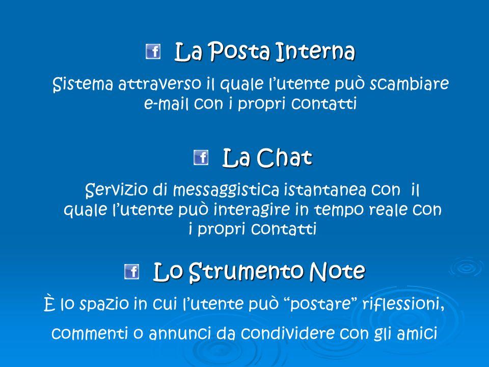 La Posta Interna Sistema attraverso il quale lutente può scambiare e-mail con i propri contatti La Chat Servizio di messaggistica istantanea con il qu