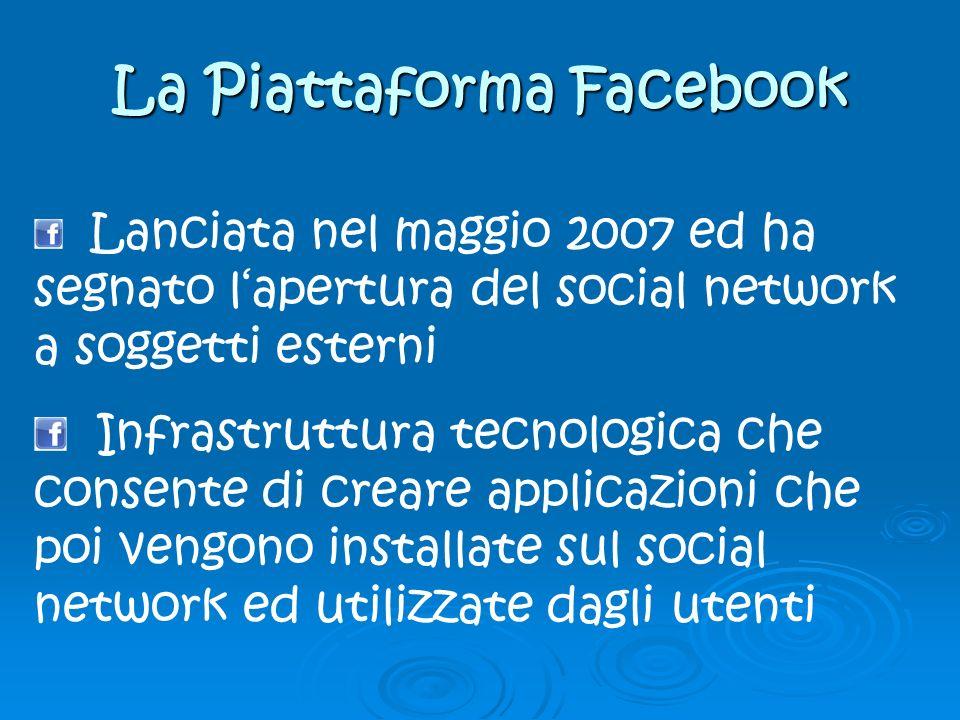 La Piattaforma Facebook Lanciata nel maggio 2007 ed ha segnato lapertura del social network a soggetti esterni Infrastruttura tecnologica che consente di creare applicazioni che poi vengono installate sul social network ed utilizzate dagli utenti