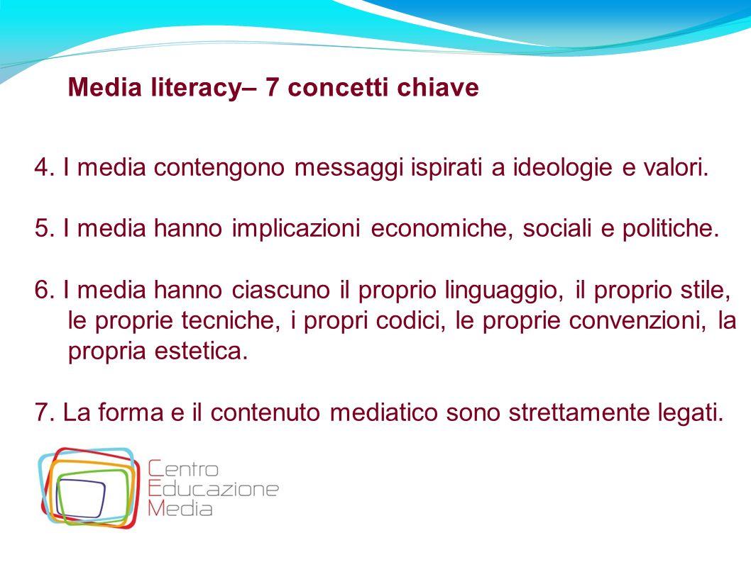 18 Media literacy– 7 concetti chiave 4. I media contengono messaggi ispirati a ideologie e valori. 5. I media hanno implicazioni economiche, sociali e