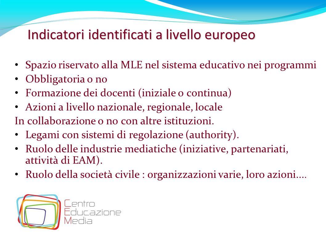 22 Indicatori identificati a livello europeo Spazio riservato alla MLE nel sistema educativo nei programmi Obbligatoria o no Formazione dei docenti (i