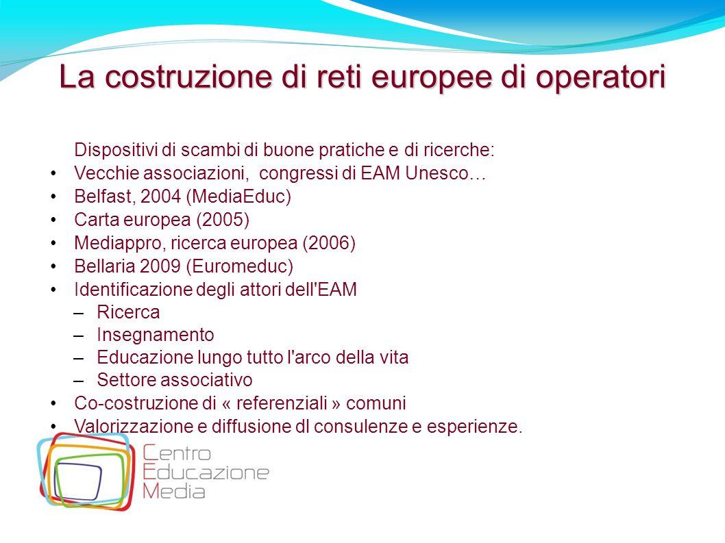 26 La costruzione di reti europee di operatori Dispositivi di scambi di buone pratiche e di ricerche: Vecchie associazioni, congressi di EAM Unesco… B