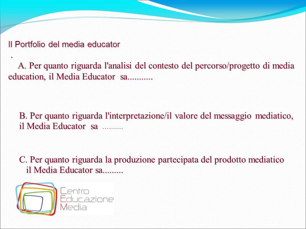 27 Il Portfolio del media educator. A. Per quanto riguarda l'analisi del contesto del percorso/progetto di media education, il Media Educator sa......